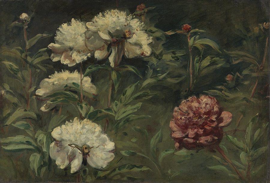 Eugène Delacroix - Pivoines blanches et rouges (1848)