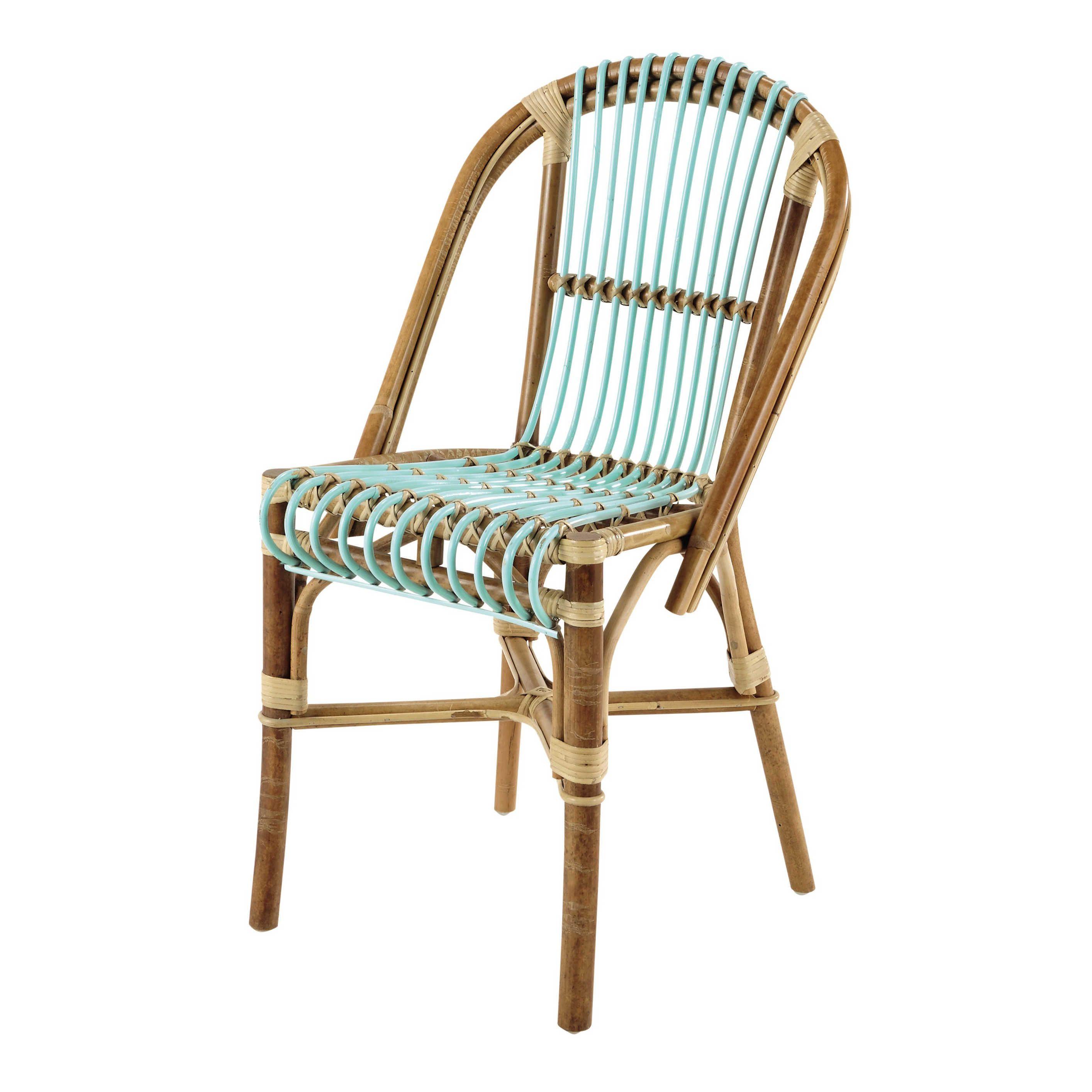 Chaise vintage en rotin vert d\'eau Florida | Maisons du ...