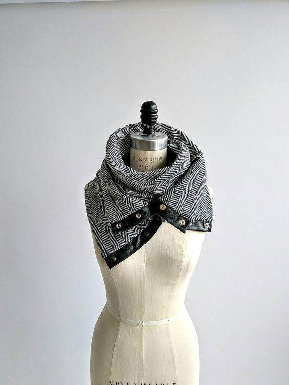 Herringbone Chunky wool circular infinity scarf | Bufanda de lana ...
