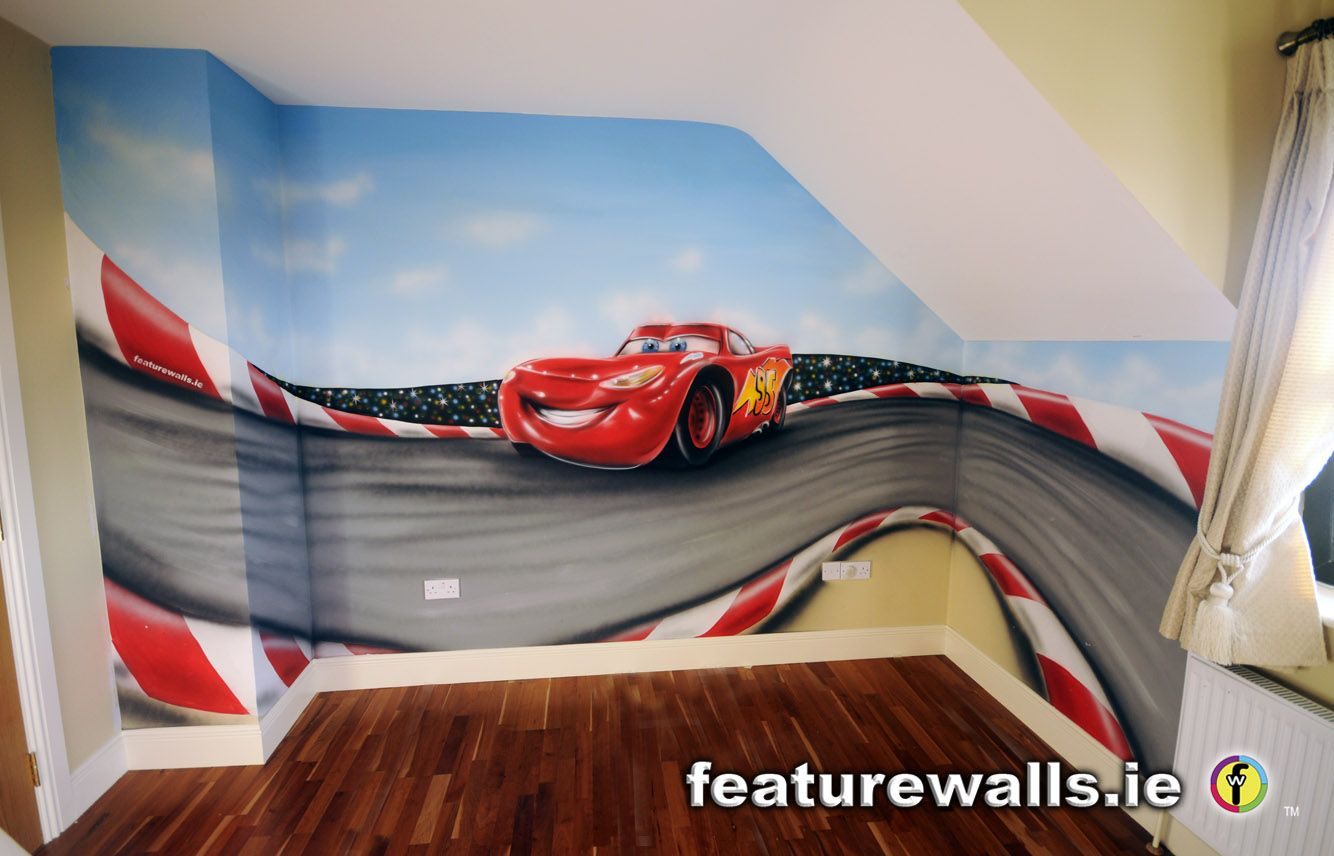 Disney Cars Wall Murals Part - 46: Wall Murals For Kids Rooms | Mc+queen+airbrushed+mural+in+