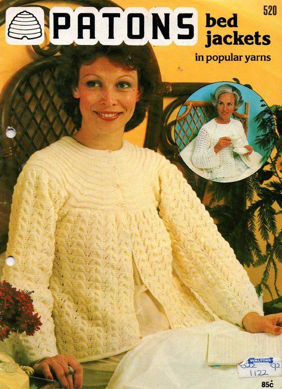 Vintage 60s Crochet Pattern Photocopy Ladys Pretty Lacy BED CAPE Wrap Top 34-38/""