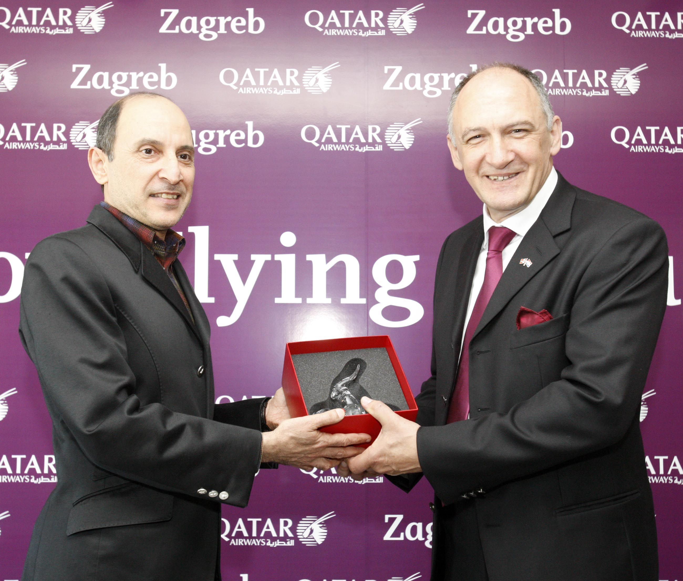 An Airport Ceremony Gift Exchange At Zagreb Airport Following The Arrival Of Qatar Airways First Flight To Cr Qatar Airways Flights To Croatia Booking Flights