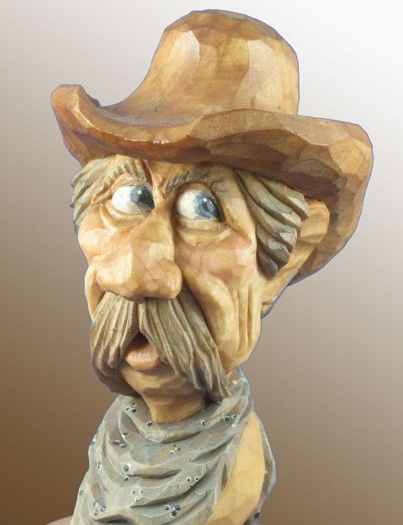 Stopper wine bottle wood carving cowboy by cjsolberg on