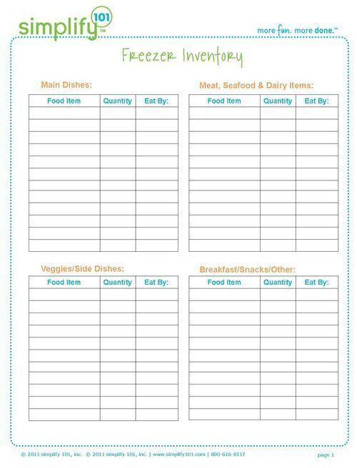 freezer inventory template