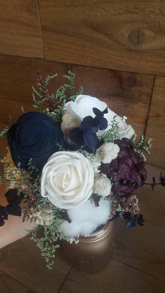 Custom Navy Wine Boho Rustic Wedding Bouquet Sola Flowers and | Sola ...