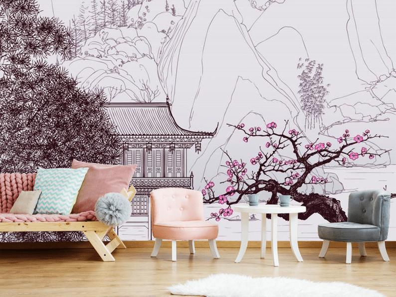 Baby Pink Lavender Sakura Japanese Garden Wallpaper Wall Etsy Wall Wallpaper Sticker Decor Vinyl Wallpaper