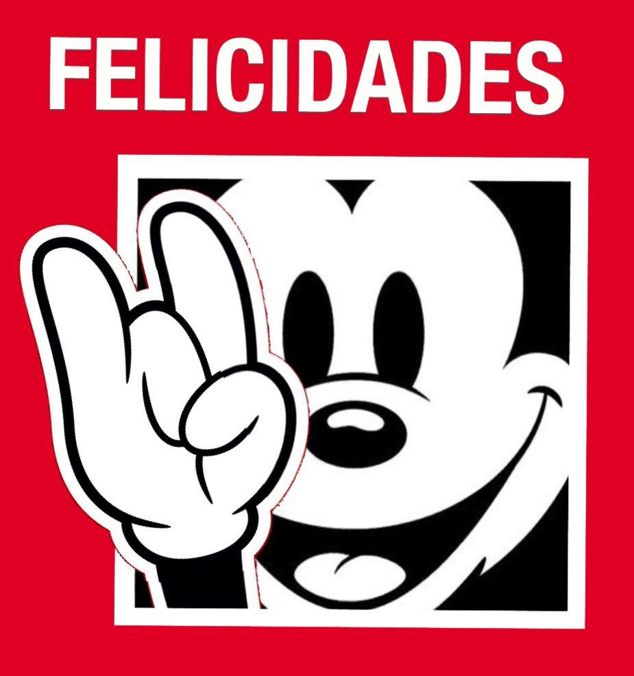 Felicidades, Mickey mouse, feliz cumpleaños