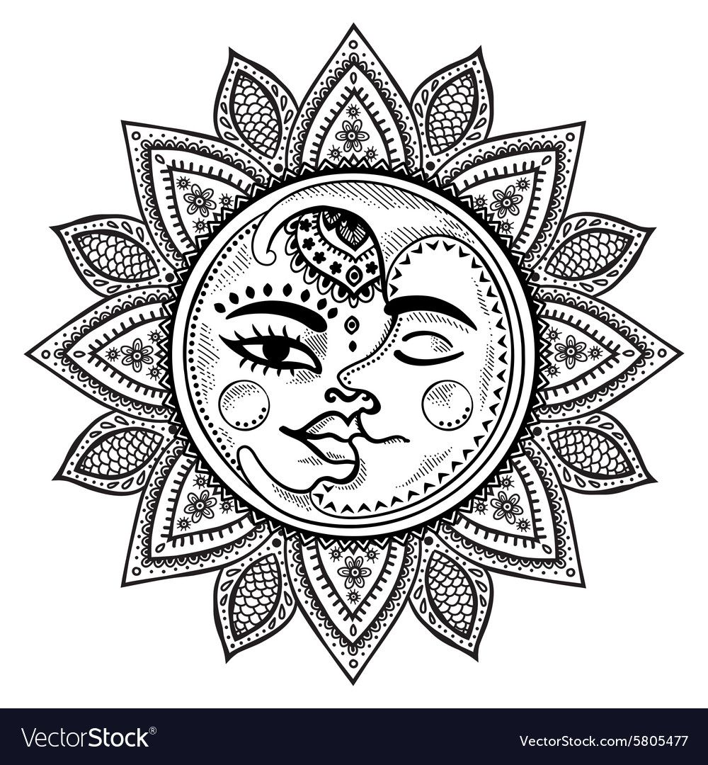 Sun and moon vintage Royalty Free Vector Image ,