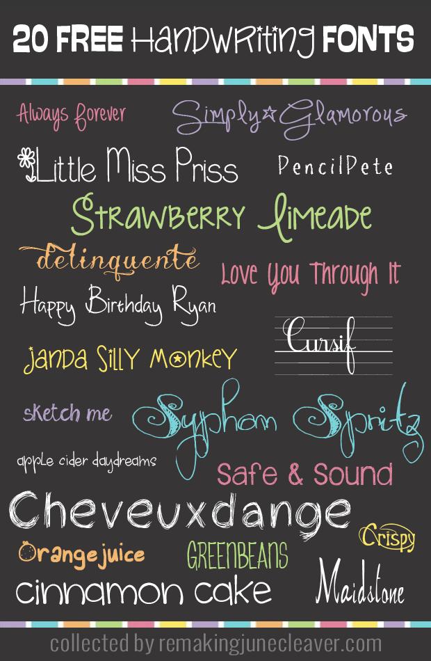 20 Free Handwriting Fonts | school | Handwriting fonts, Free