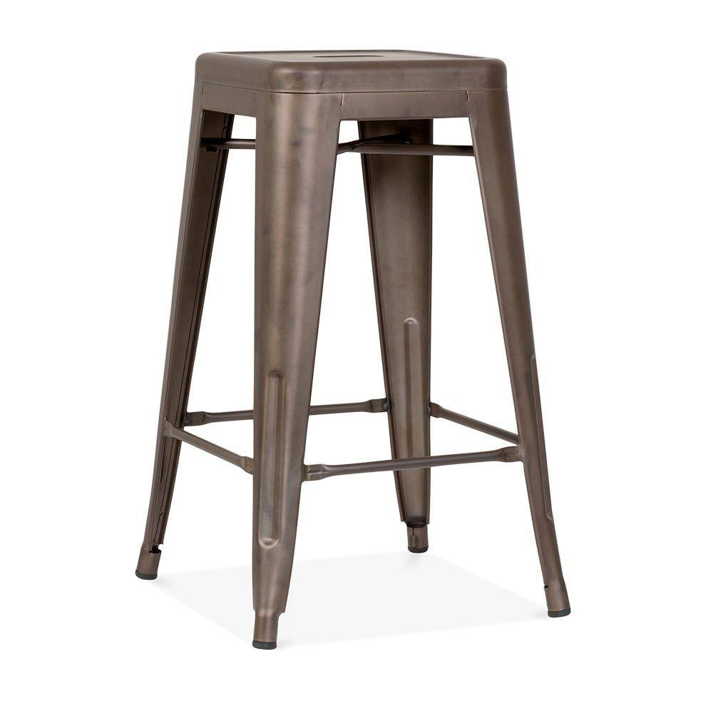 Xavier Pauchard Tolix Style Metal Stool Rustic 65cm 65cm Amazon Co Uk Kitchen Home Metal Bar Stools Bar Stools Rustic Stools