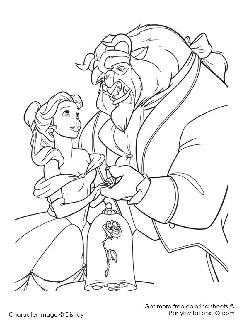 Disney beauty and the beast coloring pages para colorear