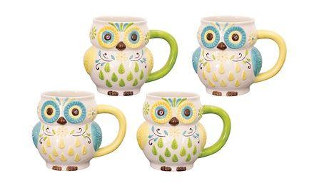 Set of 4 Hand-Painted Floral Owl Mugs  $22.99(48% off)  Exp: Feb/13/2015. More deals at: www.dealleak.com.