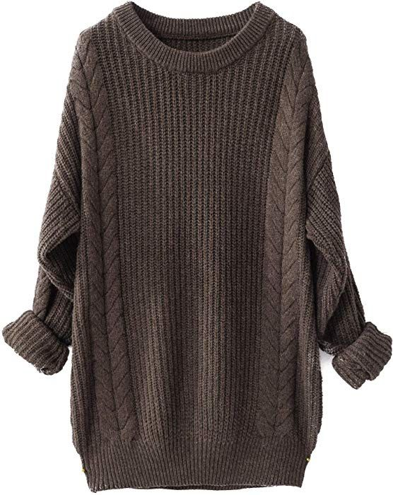 300b21da43a Liny Xin Women s Cashmere Oversized Loose Knitted Crew Neck Long Sleeve  Winter Warm Wool Pullover Long Sweater Dresses Tops (Brown) at Amazon  Women s ...