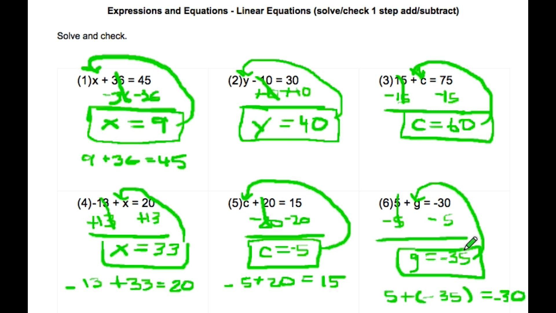 ExprEquLinearEquationsAdding_Subtracting Solving