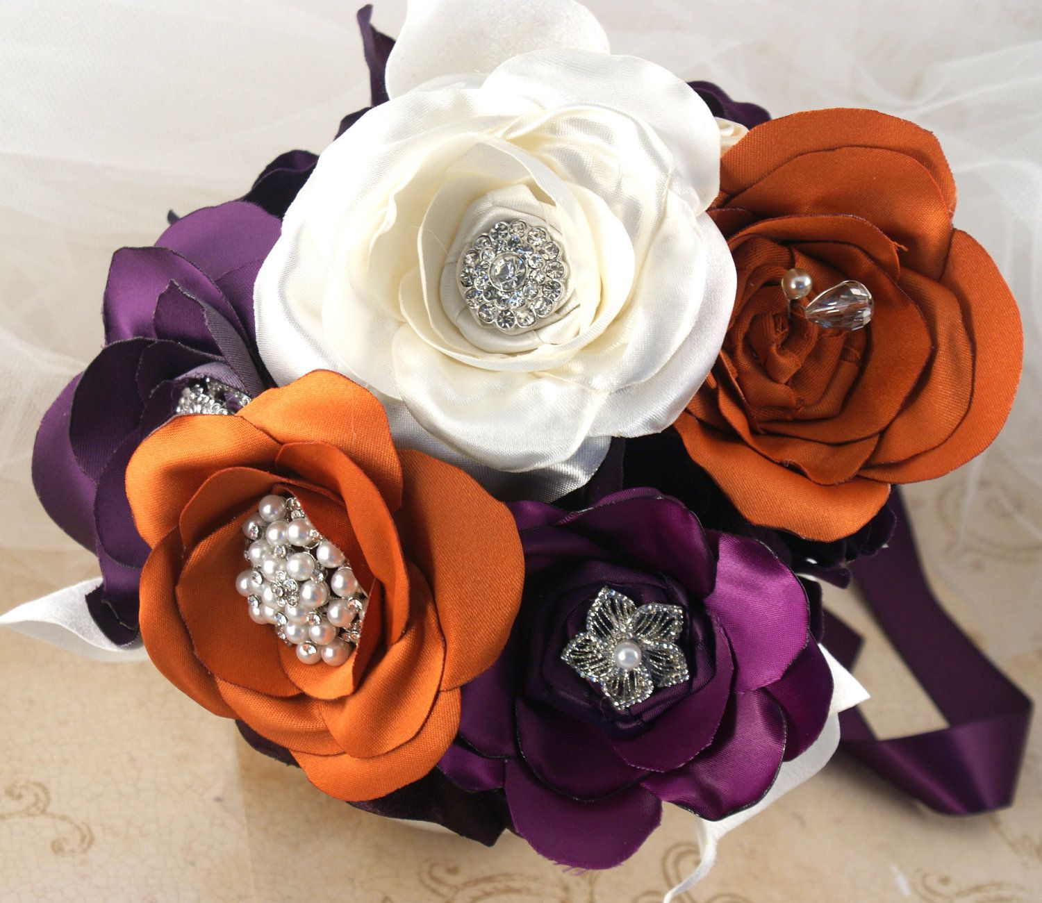 Brooch Bouquet Bridal Bouquet Jeweled Bouquet In Plum