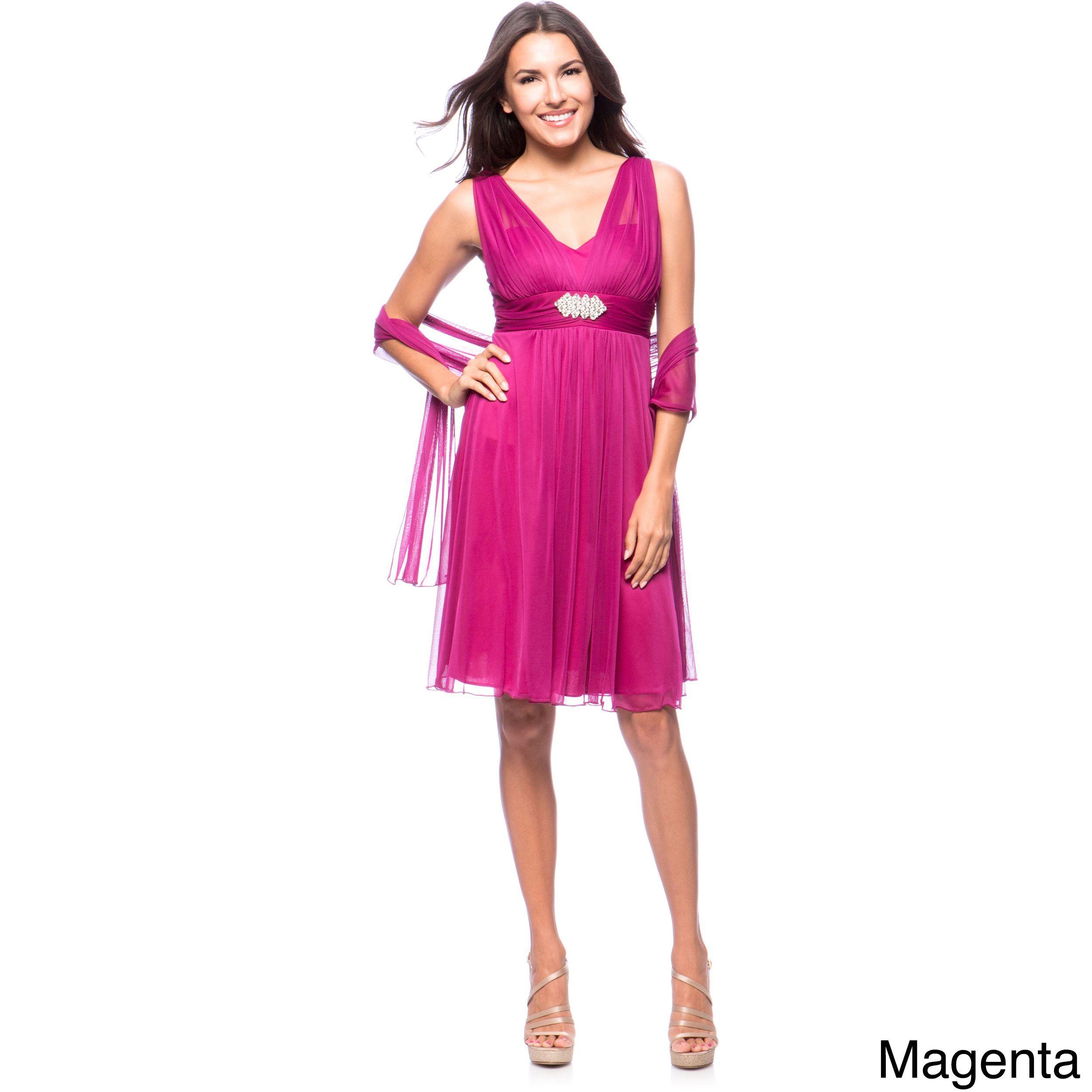 Dfi womenus short evening gown dress with rhinestone broach