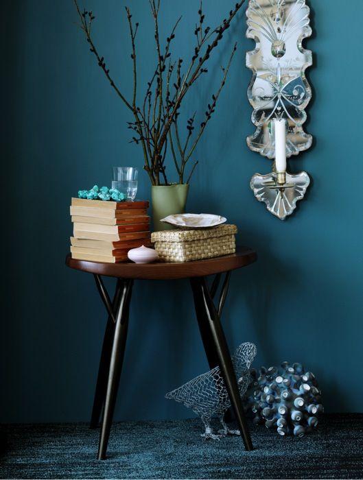 Petrol kleurige muur, mag net iets warmer - woonkamer | Pinterest ...