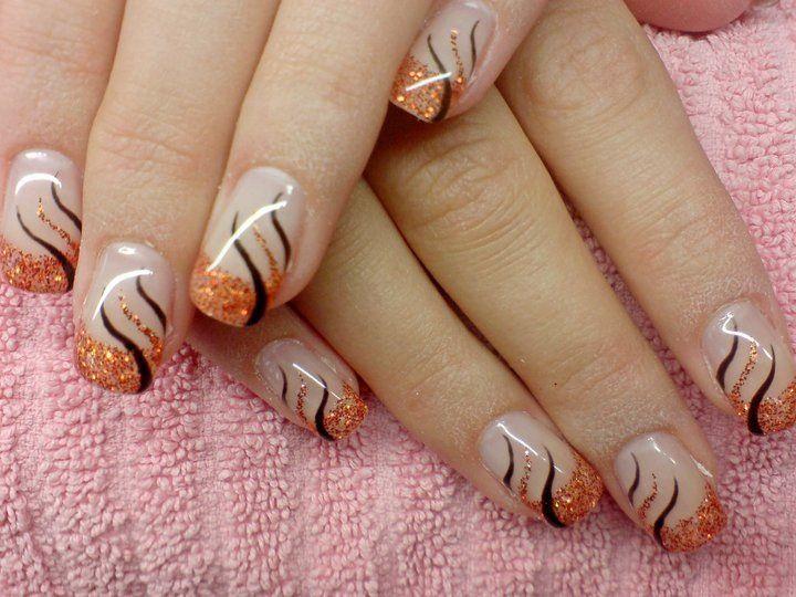 Orange Glitzer Herbstlicher Nagellack French Nagel Herbst Nagelkunst