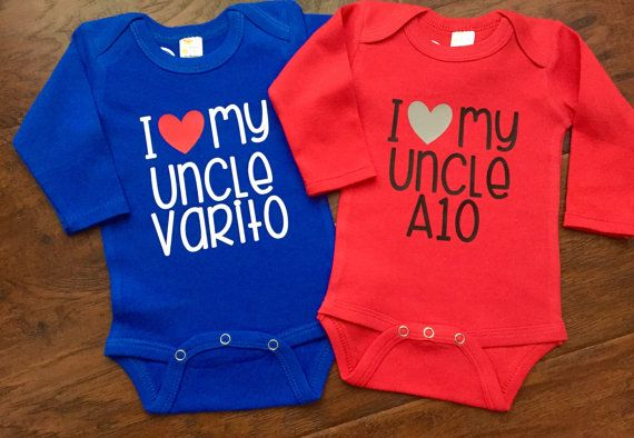 Show off your childs love for their uncle in this perfect customized baby bodysuit! This design can say what ever youd like it to say - so if you have