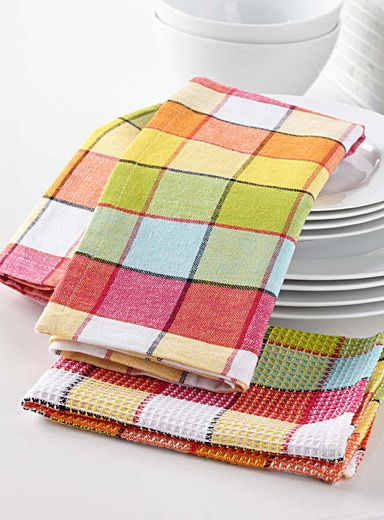 Vibrant Check Tea Towels Towel Weaving Tea Towels Weaving