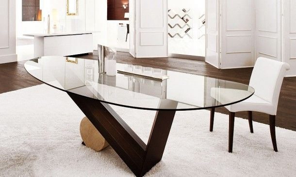 Dining Room Impressive Table Idea Designed With Oval Shaped Gl Wooden Triangle Leg Sleek Surface Modern Contemporary