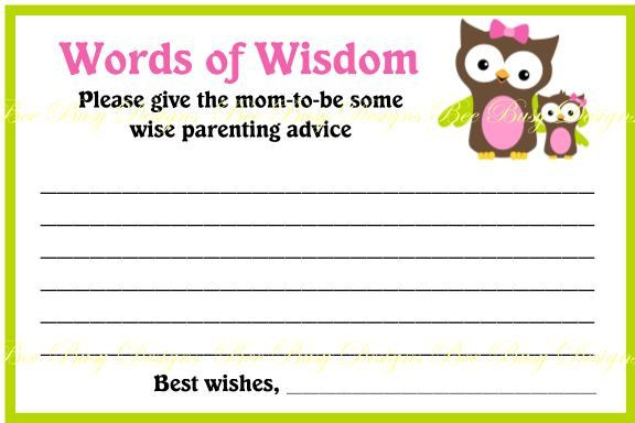 Pass Out These Adorable Pink Owl With Little Boy Owl 2 Words Of