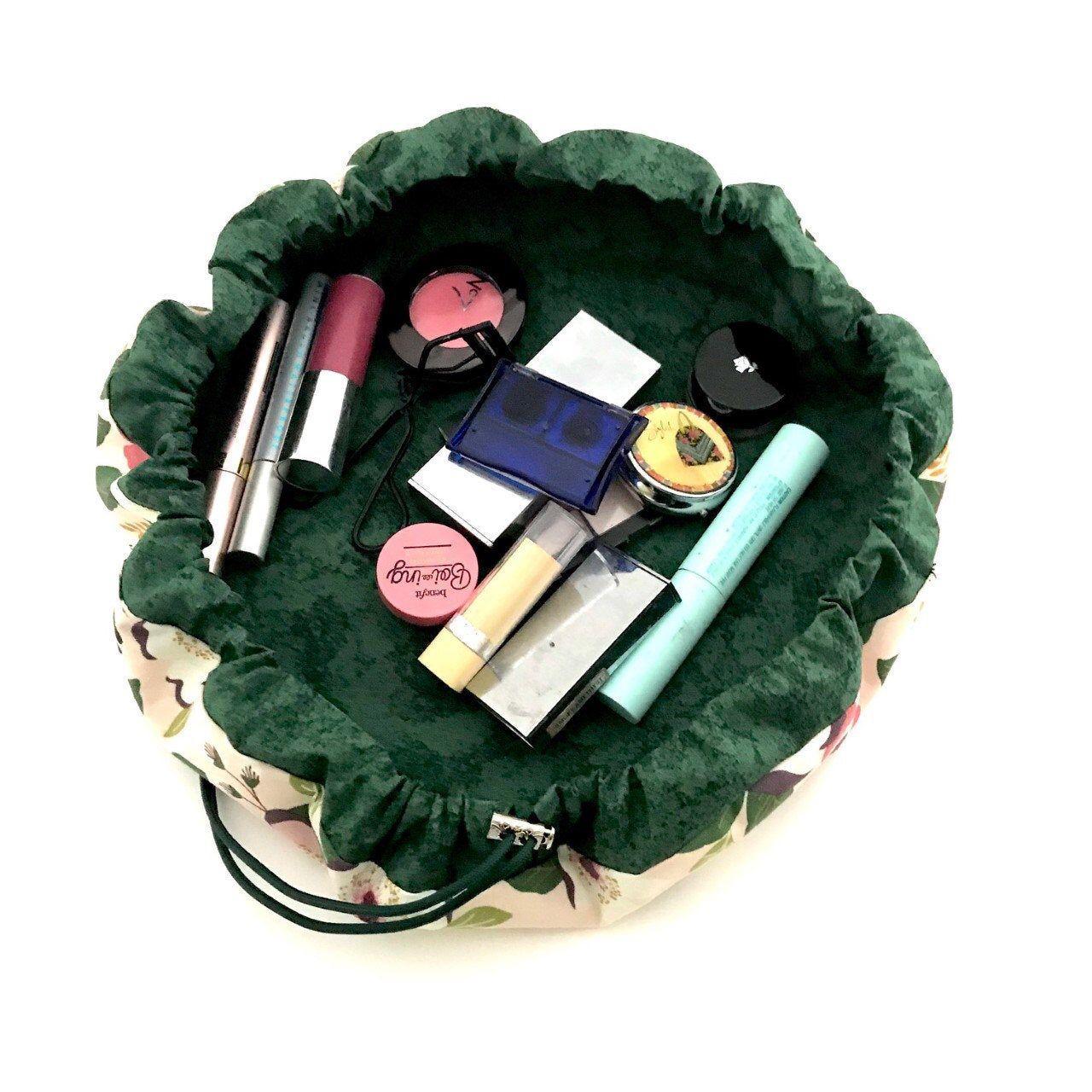 Pink Floral Washable Drawstring Makeup Bag, Lay Flat Make
