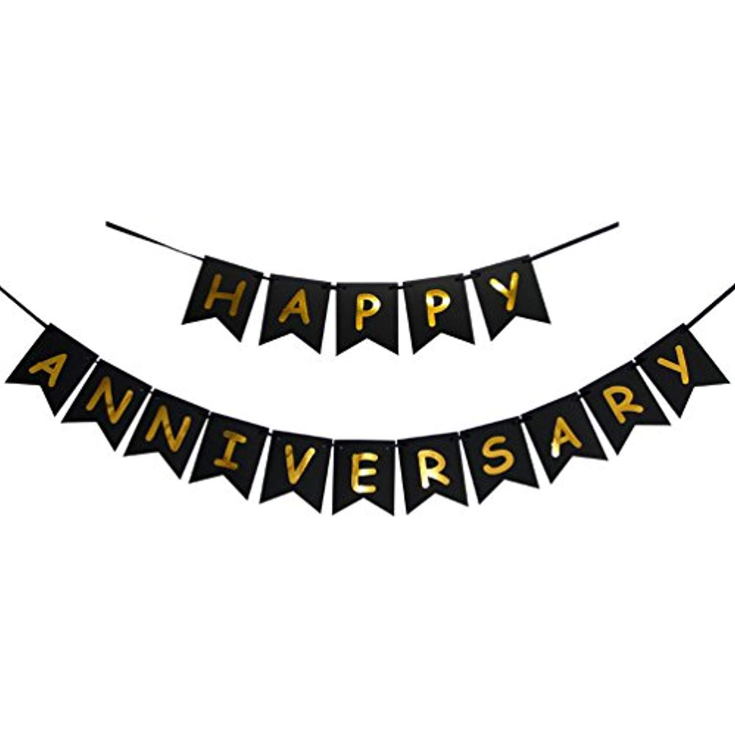Gold Foiled Sign INNORU Happy Anniversary Banner Wedding Anniversary Party Decoration Photo Props