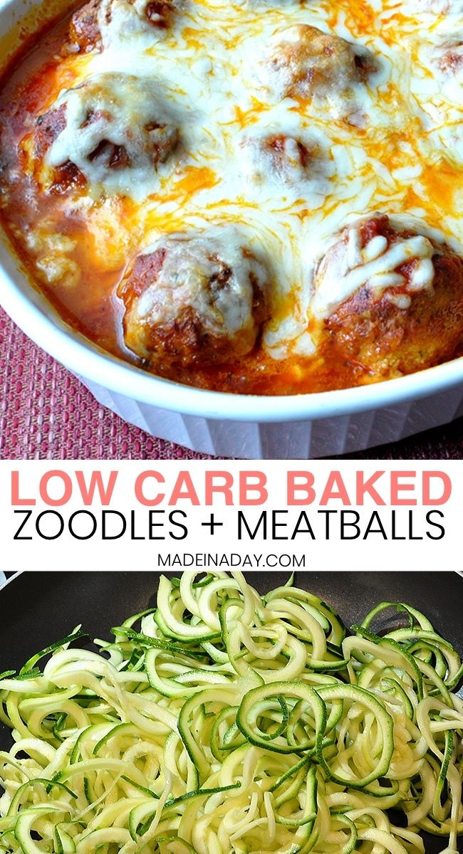 Low Carb Baked Zoodles and Meatballs baked spiralized zucchini  turkey meatballs baked zucchini spirals and meatballs how to make zucchini spaghetti where to buy zucchini...
