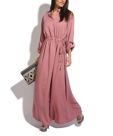 Loving this Pink Roll-Tab Sleeve Maxi Dress on #zulily! #zulilyfinds