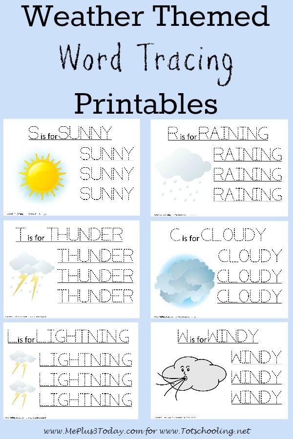 Free Weather themed Word Tracing Printables – Printable Name Tracing Worksheets