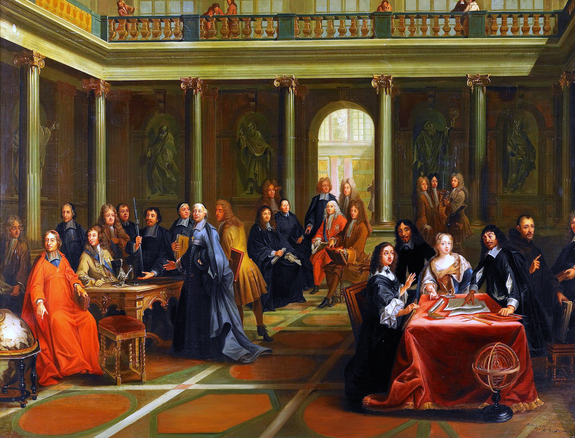 queen christina at the table on the right in discussion queen christina at the table on the right in discussion french philosopher renatildecopy descartes r ticized painting from the century