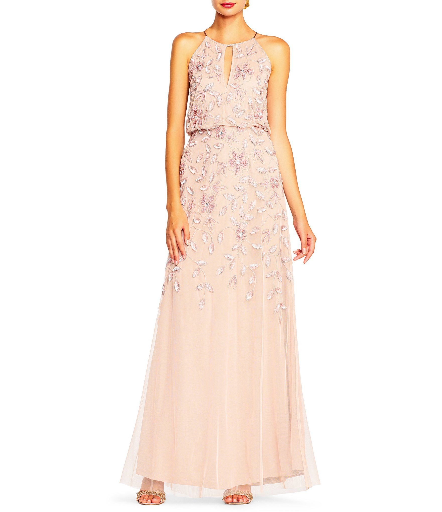 Adrianna papell floral beaded halter sleeveless gown hawaiian