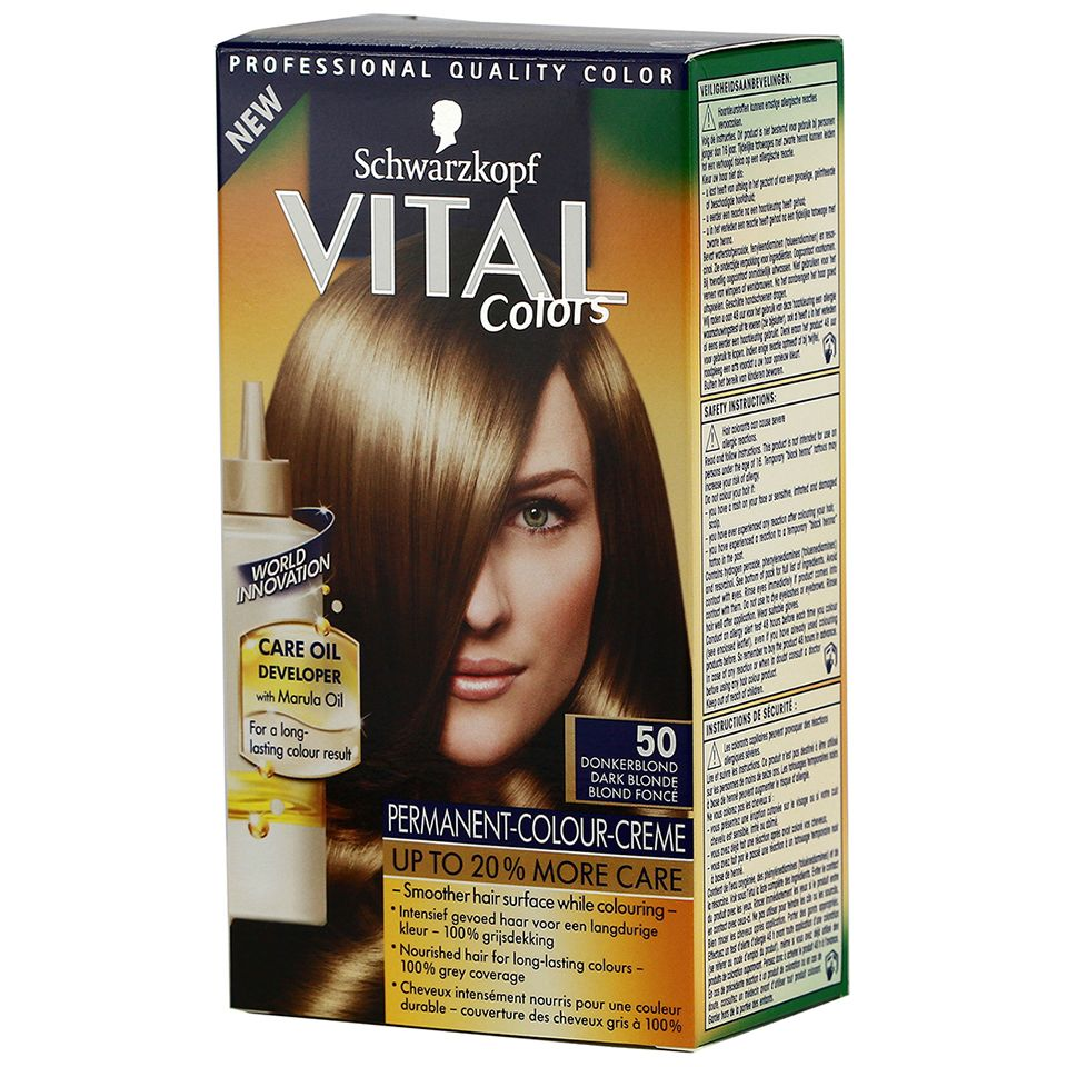 Schwarzkopf Vital Colors 50 Dark Blonde - https://www.transfashions.com/en/beauty-health/hair-care/hair-colors/vital.html #Schwarzkopf #Vital Colors 50 Dark Blonde #Haircolor The nourishing apricot oil gives the hair a brilliant shine and protects it against external influences. This naturally gives ingrediënen Vital Colors your hair a ...