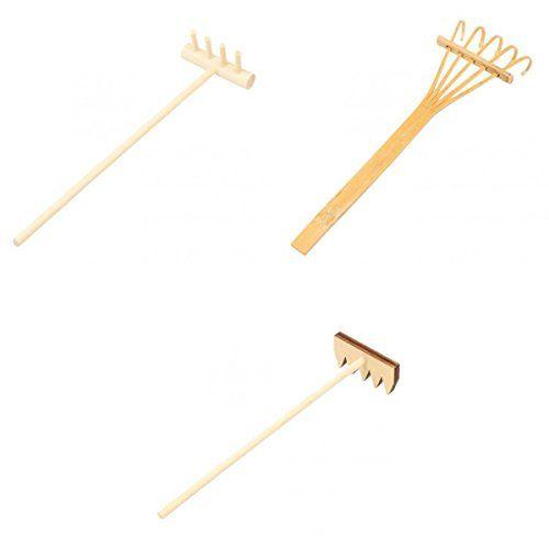 Magideal 3pcs r teau miniature en bois bambou accessoire d coration pour jardin zen sur plateau - Rateau jardin zen ...