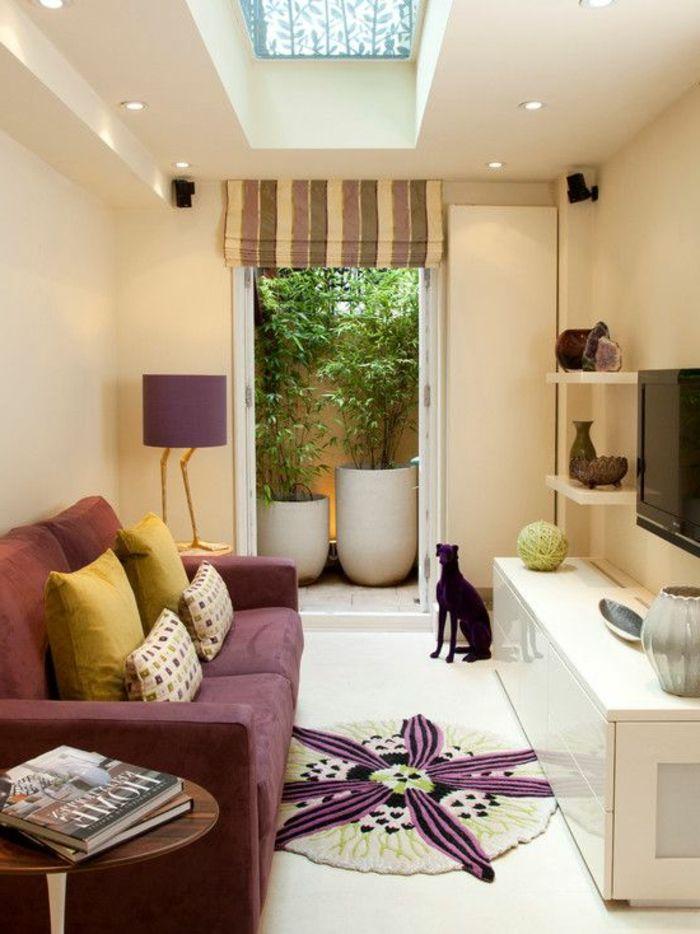 Runde Teppiche Kleines Wohnzimmer Einrichten Raffrollo Pflanzen Einbauleuchten