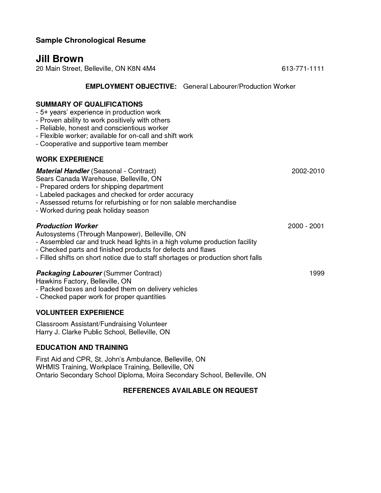 Cover Letter Resume For Manufacturing Job Bizdoska Factory Worker Exemple Work Experience Gunlocke