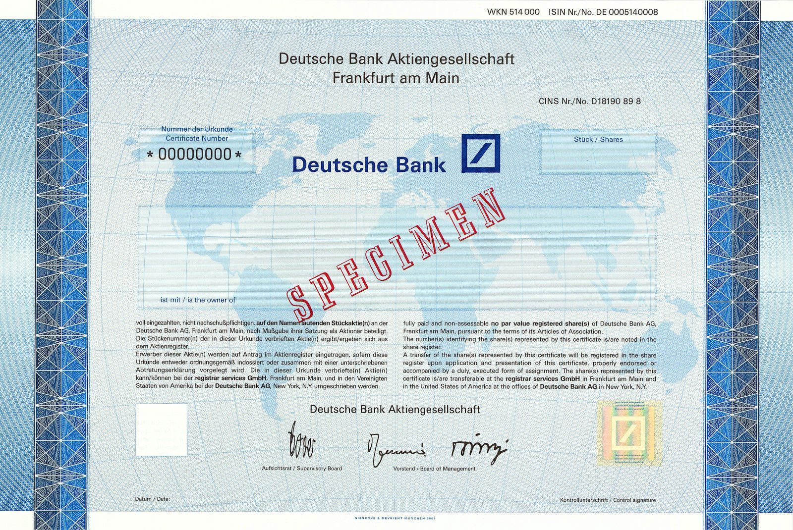 Deutsche Bank, Frankfurt a.M. + New York, Aktienmuster von