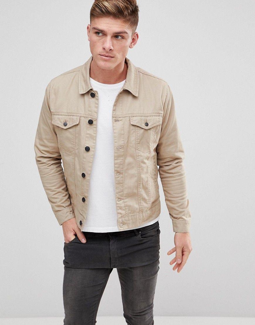 Only Sons Twill Trucker Jacket Beige Jean Jacket Outfits Men Mens Outfits Mens Casual Outfits Summer [ 1110 x 870 Pixel ]