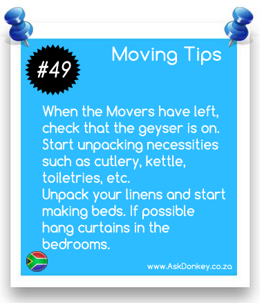 #MovingTips: Start unpacking necessities first. Use the list you have created for this purpose.  www.AskDonkey.co.za