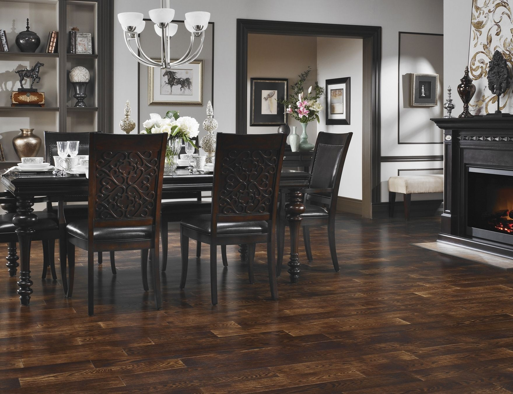Wondrous Black Wooden Armless Dining Chairs Set On Subway Dark Hardwood Floors Added Chrome Chandelier As Modern Lighting In Room Areas