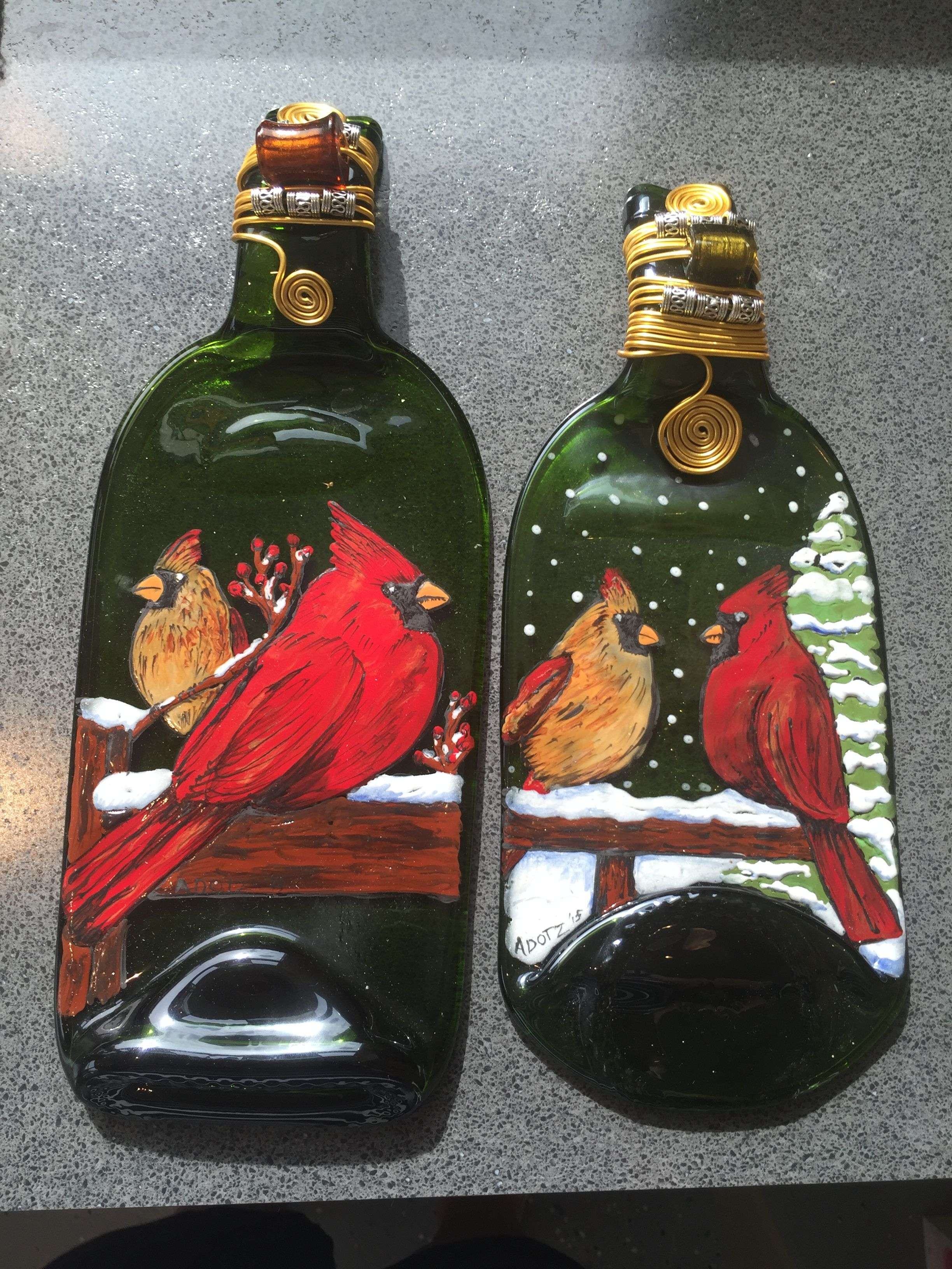 Work By Annie Dotzauer Last Two Cardinal Bottles Glass Bottle Crafts Painted Wine Bottles Recycled Wine Bottles