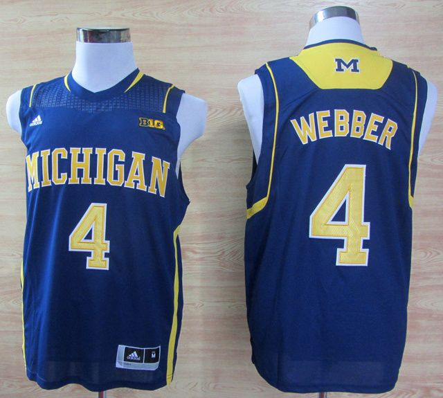 9bc4a13d74ac8e NCAA Michigan Wolverines 4 Chirs Webber Navy Blue College Basketball Jersey  Big 10 Patch