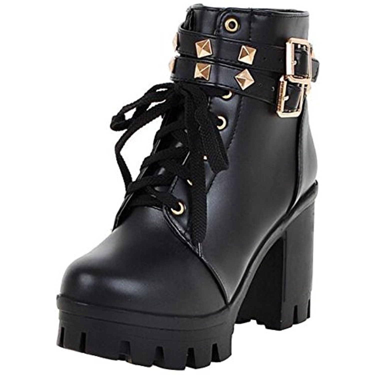 Women's Stylish Studded Rivets Buckled Straps Lace up Round Toe Block High Heel Platform Short Boots