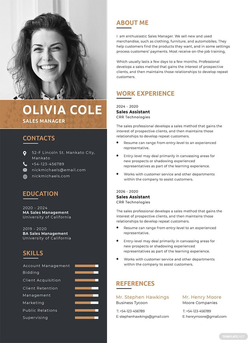 Free One Page Resume Template in 2020 One page resume