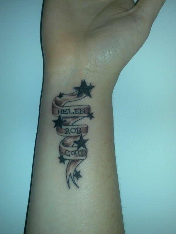 my wrist tattoo 600 800 names on a ribbon inked pinterest wrist tattoo. Black Bedroom Furniture Sets. Home Design Ideas