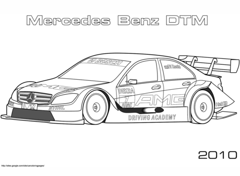 mercedes-benz dtm de 2010 dibujo para colorear. categorías: carreras de coches. páginas para