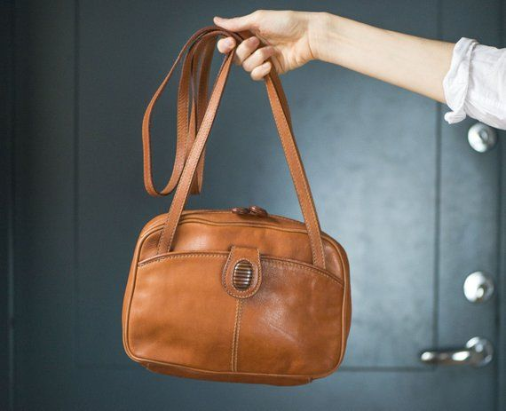 8b0708f3a407 Tan Brown Cross Body Bag 2 long handles. Vintage Genuine Leather shoulder  bag. 80s nostalgia Bag for women. Woman Handbag Borella