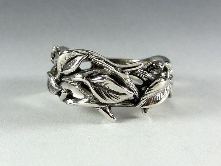 Sterling Silver Leaf and Twig Band Ring Tree Branch Ring by