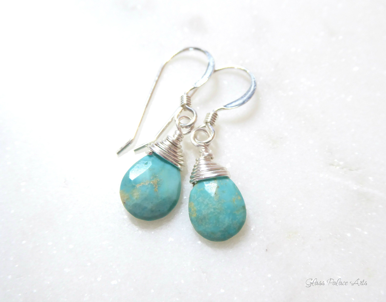 Genuine Turquoise Earrings Dangle Teardrop Turquoise Earrings For Women Dainty Gemstone Sterling Silver December Birthstone Jewelry Gift In 2020 Turquoise Earrings Earrings Jewelry Gifts